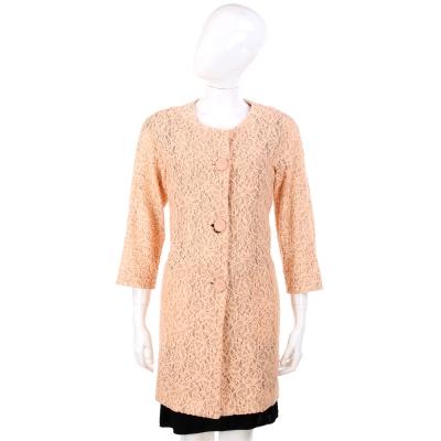 MOSCHINO 粉橘色蕾絲 圓領大釦長版外套