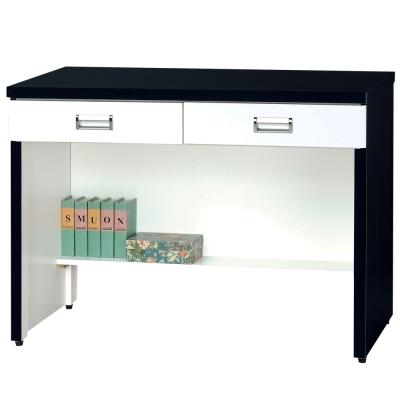 時尚屋 黑白配3尺二抽書桌 寬91cm