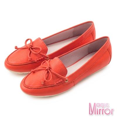 Magic-mirror-輕盈步伐-柔軟羊皮蝴蝶結莫卡辛鞋-搶眼紅