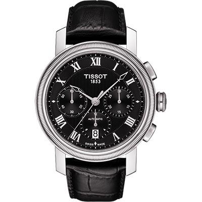 TISSOT Bridgeport 羅馬計時機械腕錶-黑/42mm