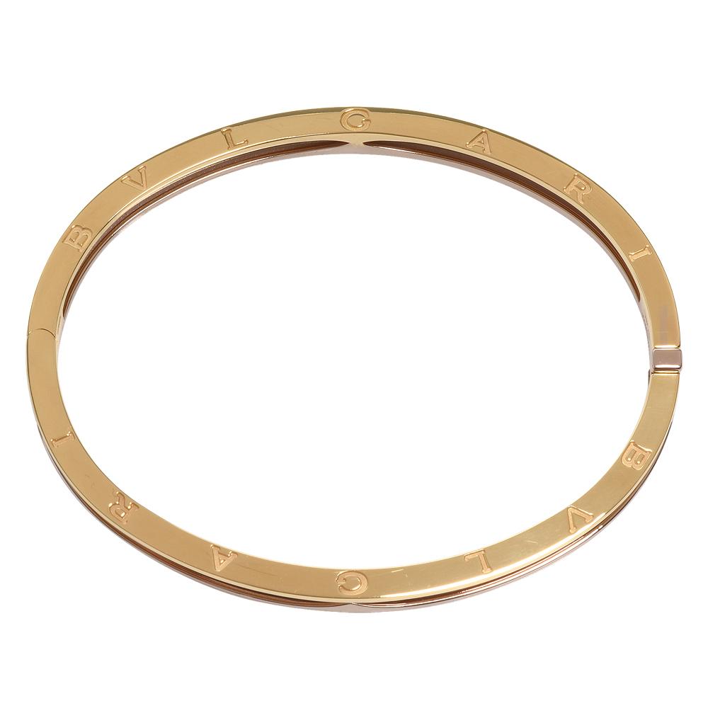 BVLGARI 經典B.zero1系列品牌字母烙印三色K金壓釦橢圓手環(M/L)