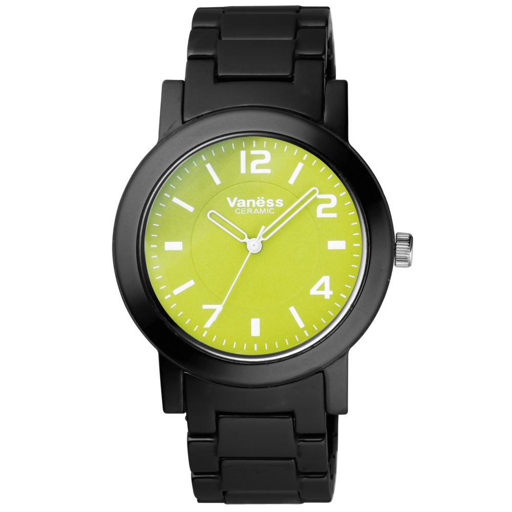 Vaness調色盤時尚都會陶瓷腕錶-綠黑40mm