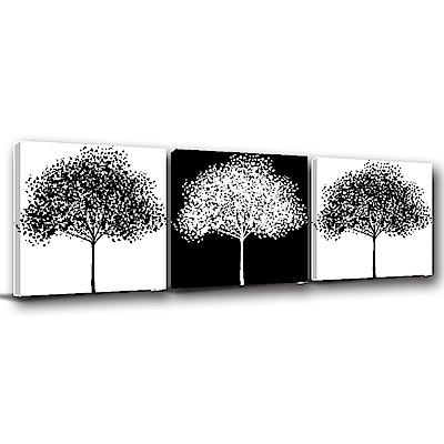 24mama掛畫-三聯式方型 掛畫無框畫 似冬似春 50x50cm