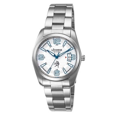 LICORNE 恩萃 Entree  簡約時尚設計都市腕錶-白x藍/36mm
