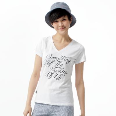 SOMETHING-立體印花V領T恤-女-白色