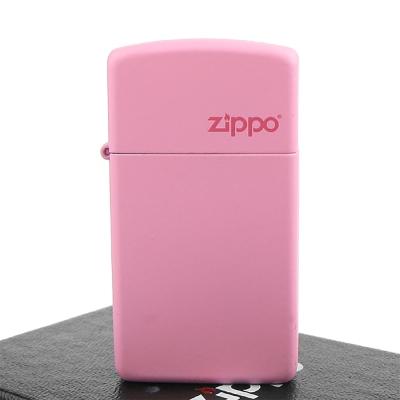 【ZIPPO】美系~LOGO字樣打火機~Pink Matte粉紅烤漆-窄版