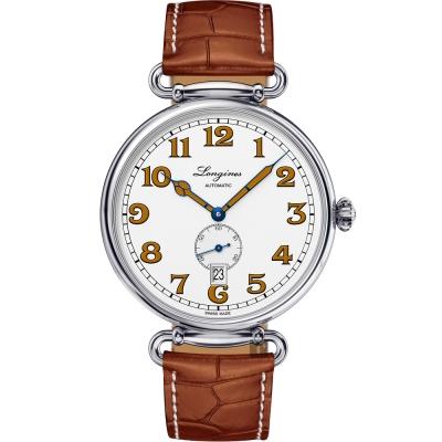 LONGINES浪琴 Heritage 1918 復刻小秒針機械腕錶-白x咖啡/41mm
