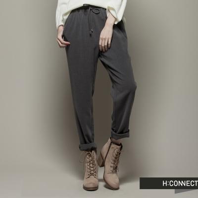 H:CONNECT 韓國品牌 女裝 - 素面抽繩彈性休閒褲 - 灰(快)