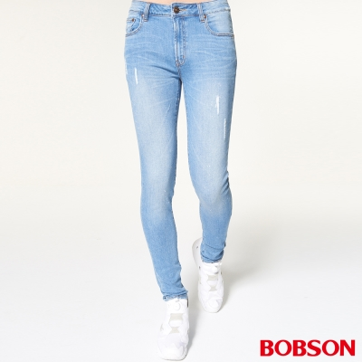 BOBSON 男款噴漆磨破大彈力窄管褲