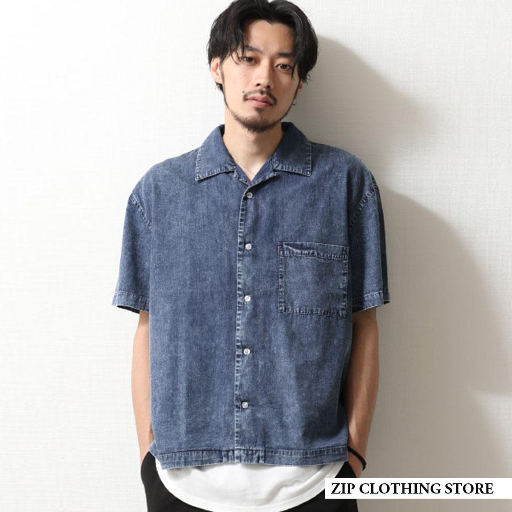 丹寧牛仔襯衫開領短袖2色ZIP日本男裝
