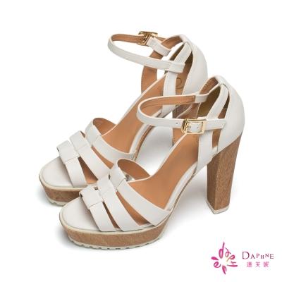 達芙妮x高圓圓-圓漾系列羅馬環帶防水台粗高跟涼鞋-經典白