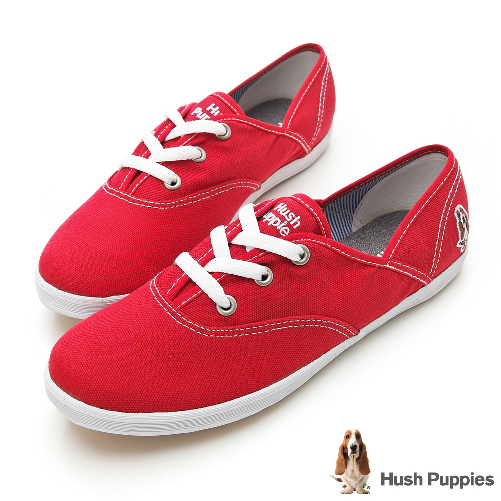 Hush Puppies 熱銷基本款★咖啡紗帆布鞋-紅色