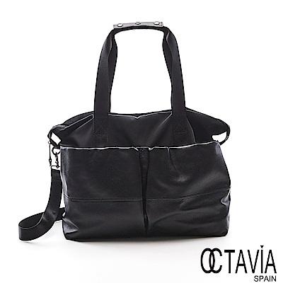 OCTAVIA 8真皮 - 狠大 牛皮大口袋趴趴走輕量肩斜二用包- 就愛黑