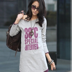 正韓 街頭風寬領兩穿長版T恤 (紫色)-N.C21