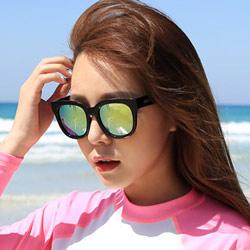 梨花HaNA  時髦韓妞女星私著大框太陽眼鏡-黃綠水銀鏡片