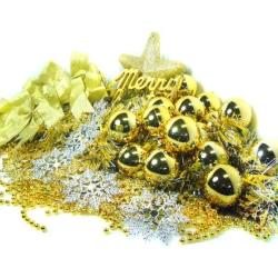 聖誕裝飾配件包組合-金銀色系 (6尺(180cm)樹適用)(不含聖誕樹)(不含燈)