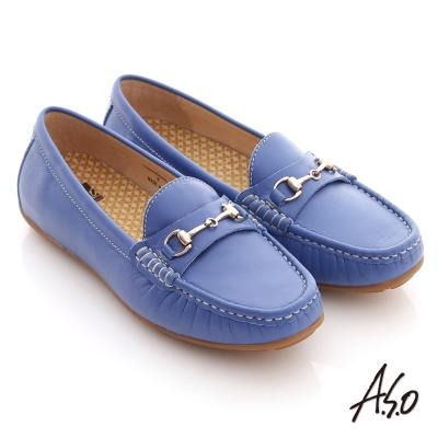 A.S.O 舒壓耐走 全真牛皮金屬釦環莫卡辛平底鞋 藍