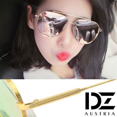 【2件59折】DZ 層線立體平板框 抗UV 偏光 太陽眼鏡墨鏡(金框粉膜)