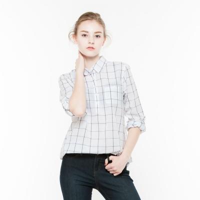 Hang-Ten-女裝-輕熟格紋襯衫-白