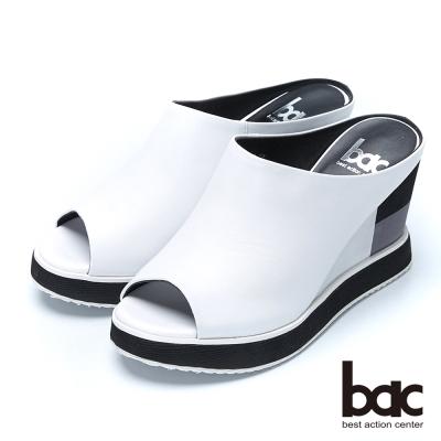 bac時尚甜心 典雅魚口厚底拖鞋-白