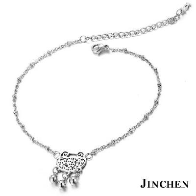 JINCHEN 白鋼富貴腳鍊 銀色