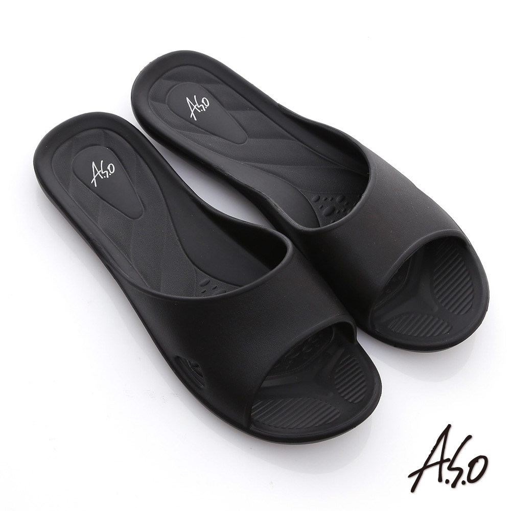 A.S.O 輕量系列 輕盈舒適居家拖鞋 黑
