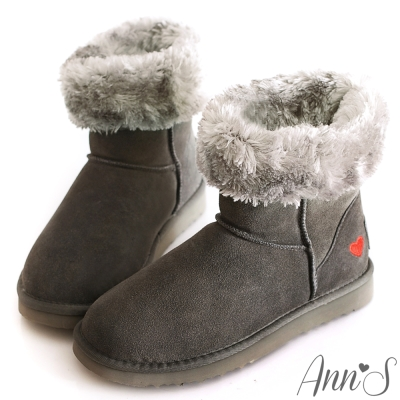 Ann'S甜美女孩-刺繡愛心2way可愛雪靴 灰