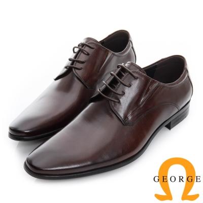 GEORGE 喬治-經典真皮素面德比鞋-咖啡色