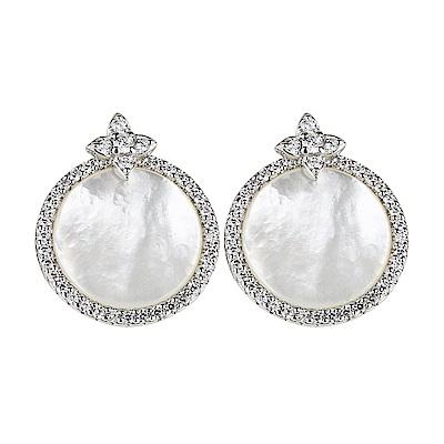 apm MONACO ETERNELLE系列晶鑽鑲飾母貝設計純銀耳環(銀)
