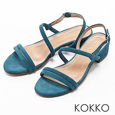 KOKKO -仲夏夜之夢曲線麂皮粗跟涼鞋-清爽藍綠