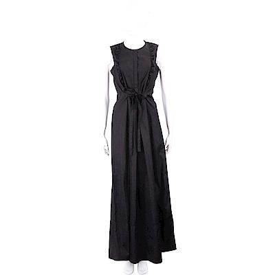 Max Mara 荷葉細節黑色襯衫材質度假長洋裝