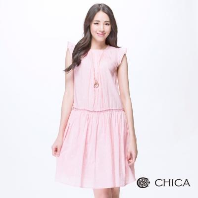 CHICA 野餐風點點花瓣袖洋裝(2色)