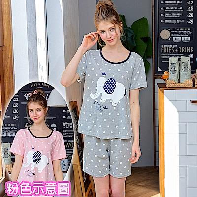 睡衣 大象點點 精梳棉柔短袖兩件式睡衣(R77019-2夢幻粉) 蕾妮塔塔