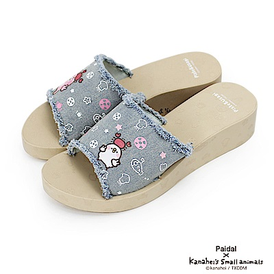 Paidal x 卡娜赫拉的小動物 - 牛仔鬚邊厚底拖鞋