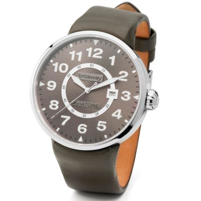 brosway Oblo Aviatore 精緻鋼面皮帶碗錶-橄欖綠/45.5mm