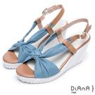 DIANA 夏日風情--扭結撞色異材質厚底楔形涼鞋 – 藍