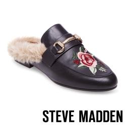 STEVE MADDEN-JILL-P-BLACK 毛絨低跟刺繡穆勒鞋-黑色