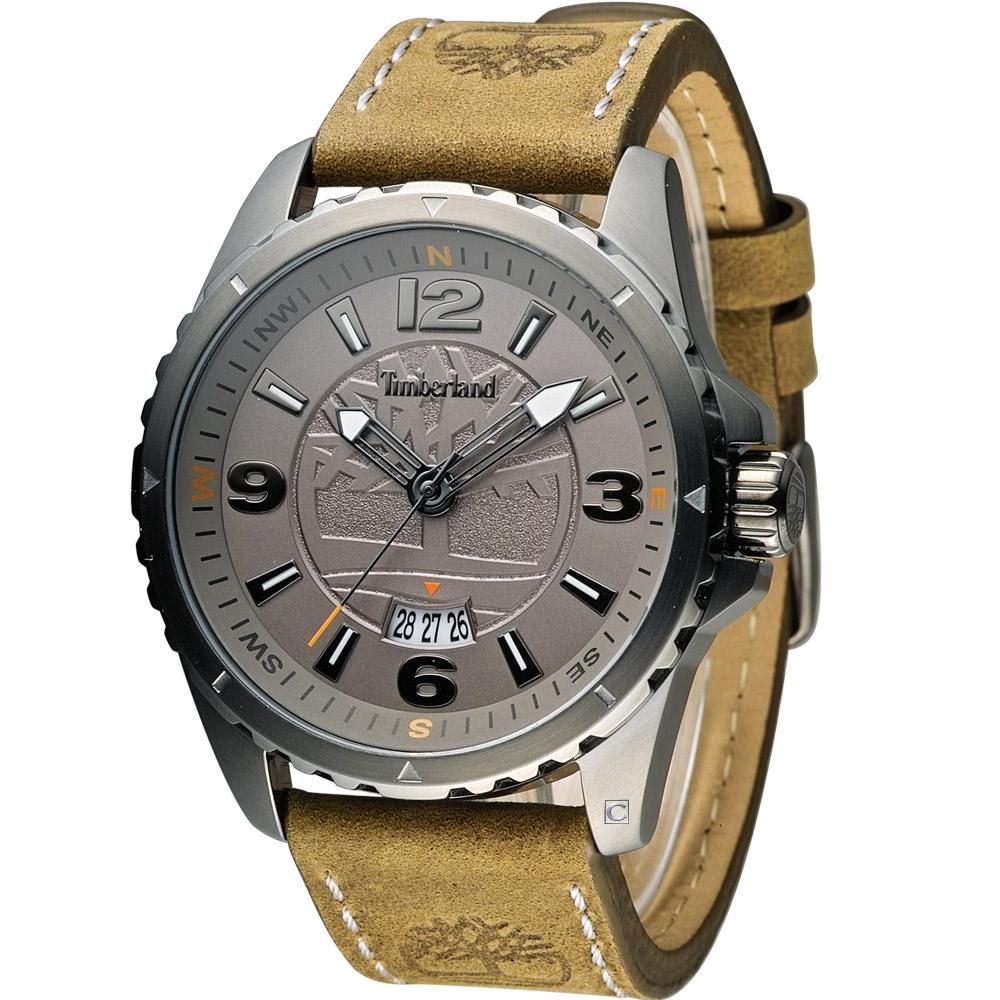 Timberland 城市探險時尚腕錶-灰x軍綠/46mm