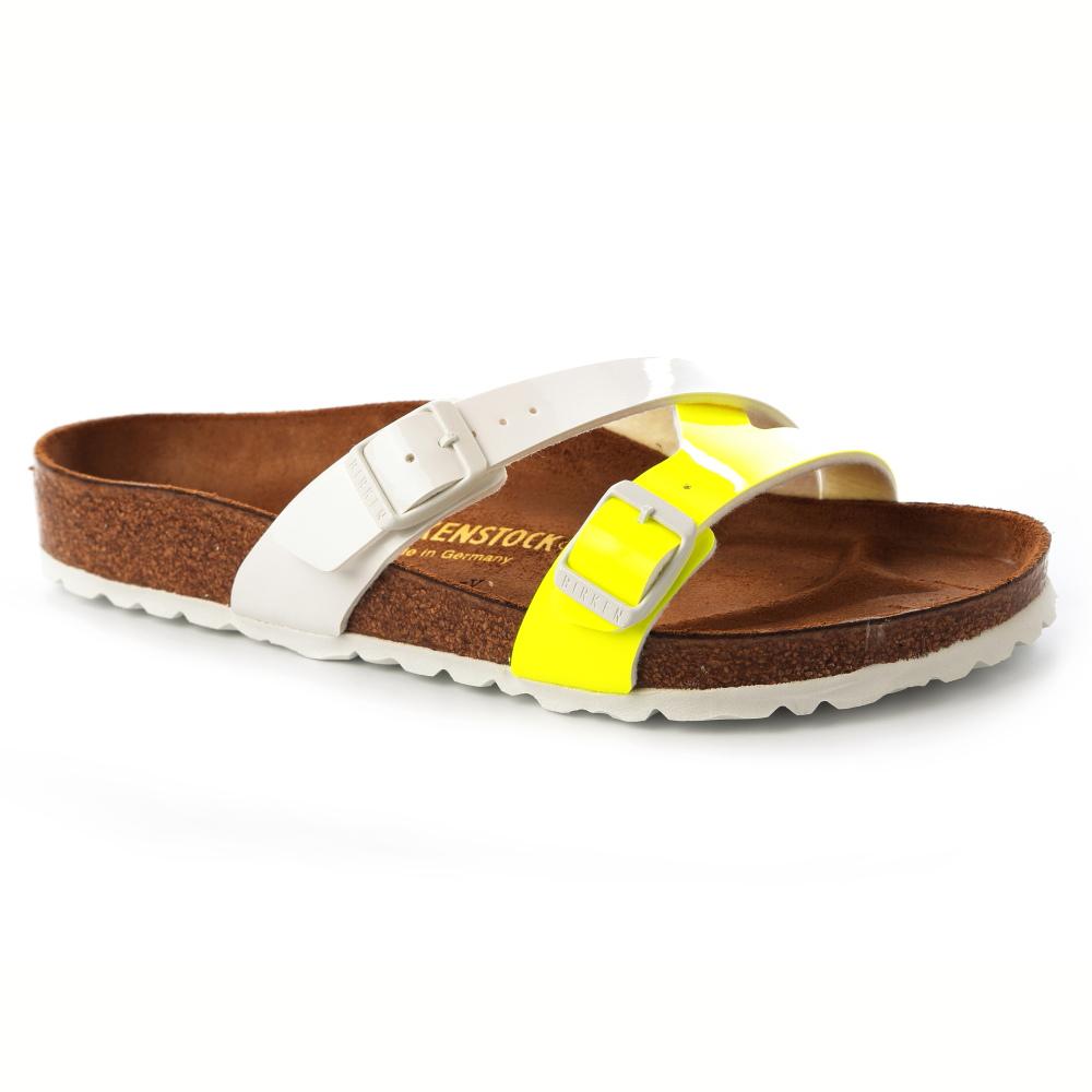 勃肯BIRKENSTOCK 025421。細條拖鞋(亮面黃白)