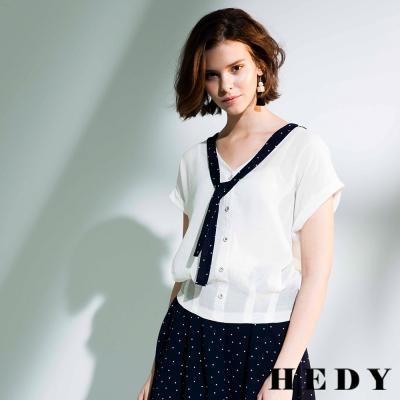 Hedy赫蒂 點點領巾排釦棉麻上衣(共二色)