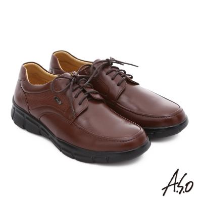 A.S.O 輕旅健步 綿羊皮拼接牛皮綁帶奈米氣墊皮鞋 茶