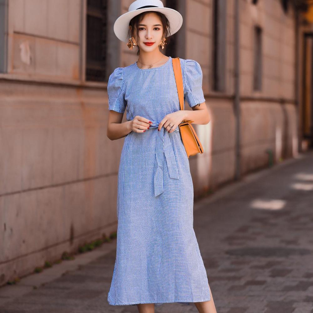 圓領拼接條紋泡泡袖開衩長款洋裝 (藍色)-Kugi Girl