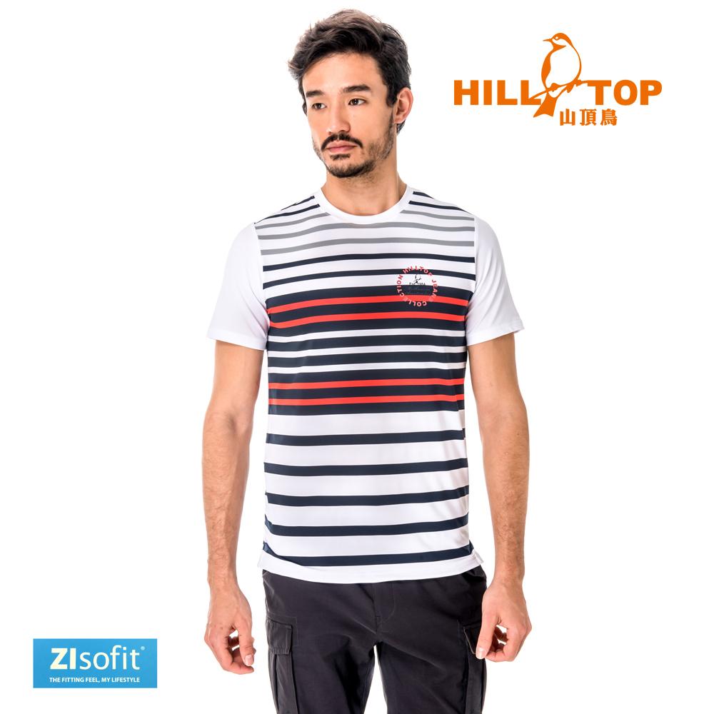 【hilltop山頂鳥】男款吸濕排汗抗UV彈性T恤S04MC1-白