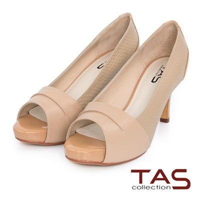 TAS-撞色拼接羊皮壓紋魚口高跟鞋-膚卡其