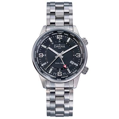 DAVOSA Vireo Dual Time–威利爾經典雙時區系列鋼帶腕錶-黑/42mm