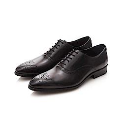 ALLEGREZZA-真皮男鞋-無可取代-經典藝紋雕花尖頭綁帶牛津皮鞋 黑色