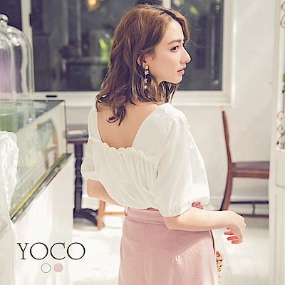 東京著衣-yoco 柔美好感鄉村風小荷葉短袖上衣-S.M.L(共二色)
