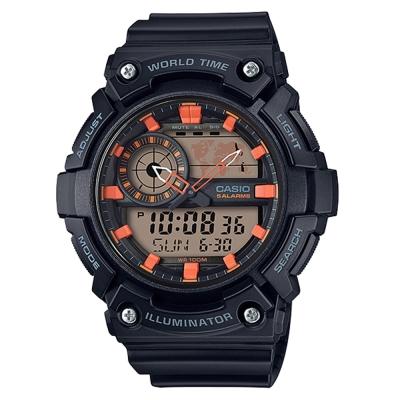 CASIO 世界地圖時間設計雙顯運動錶(AEQ-200W-1A2)黑X橘51.4mm