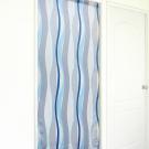 布安於室-曲線條紋長門簾-灰藍