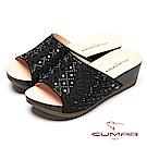 CUMAR奢華水鑽-大面積水鑽排列厚底拖鞋-黑色